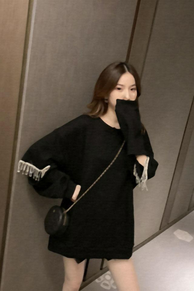 韩版秋新款宽松显瘦洋气时尚重工水钻圆领长袖百搭上衣女休闲卫衣