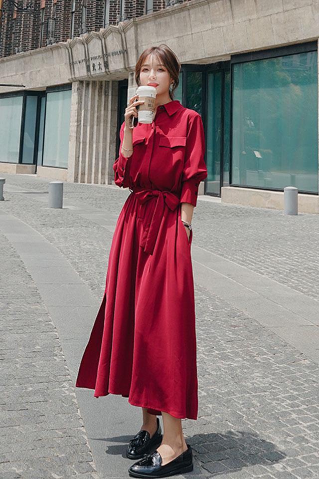 气质连衣裙女2019秋季新款女装法式超长款收腰衬衫连衣裙长裙