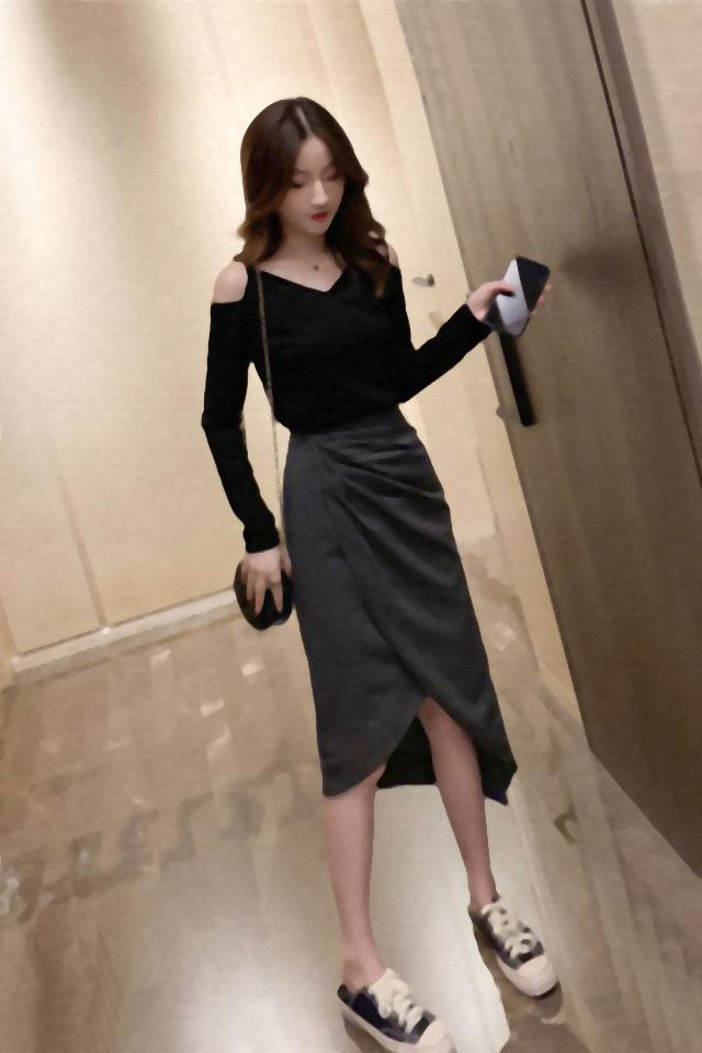 时尚套装女秋季新款韩版露肩打底上衣不规则半身裙女神性感两件套
