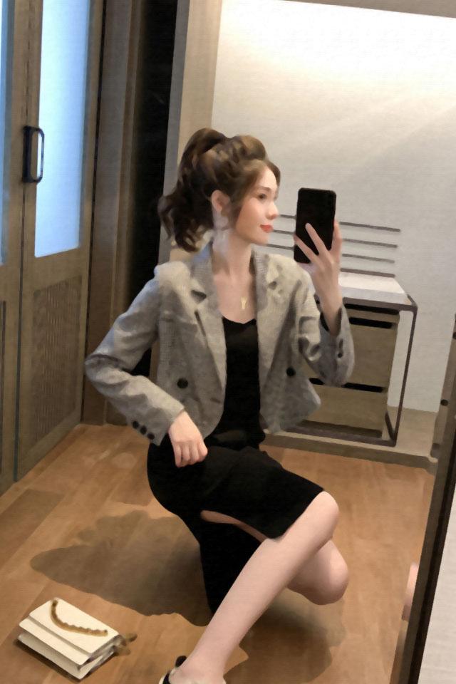 两件套秋装新款英伦风黑白格子小西装短款外套吊带连衣裙时尚套装