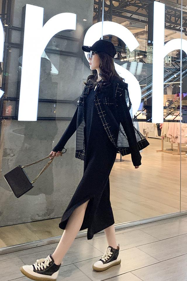 秋季新款韩版宽松显瘦简约百搭黑色连衣裙女开叉过膝长裙T恤裙子