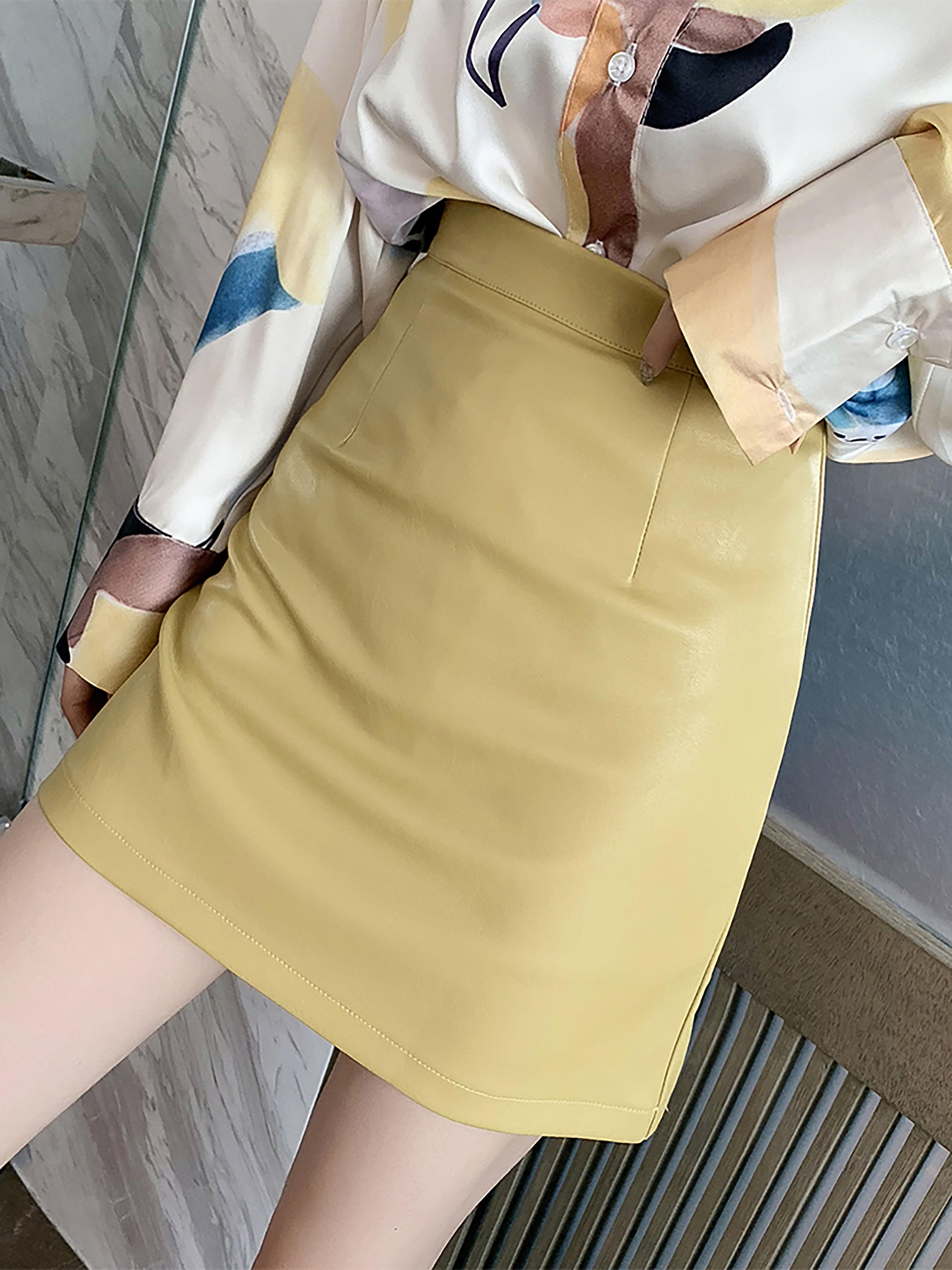 早秋新款韩版高腰显瘦包臀半身裙女小个子显瘦A字裙宽松黄色皮裙