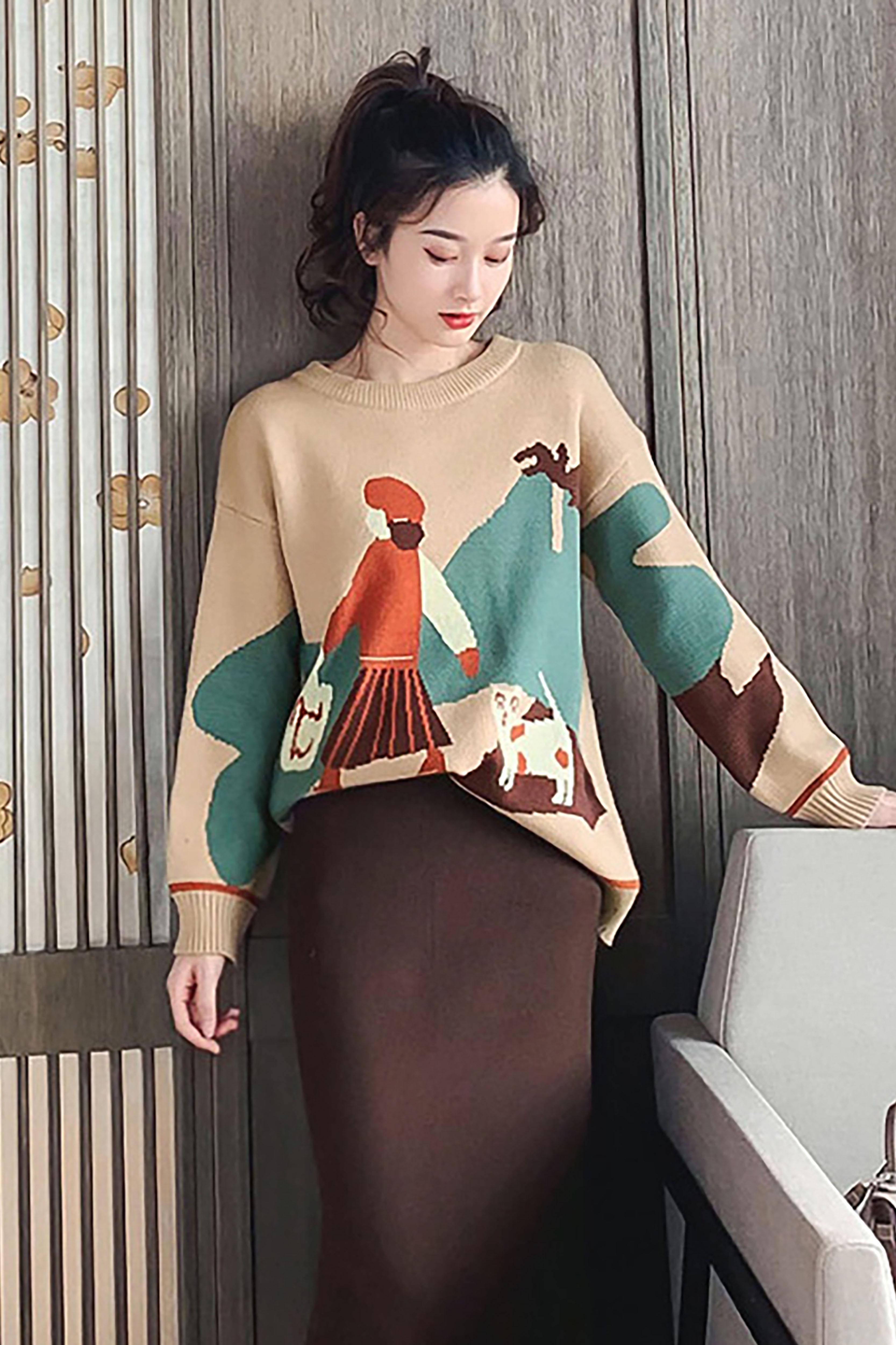 秋季韩版新款小个子时尚洋气减龄套头毛衣女卡通图案百搭针织上衣