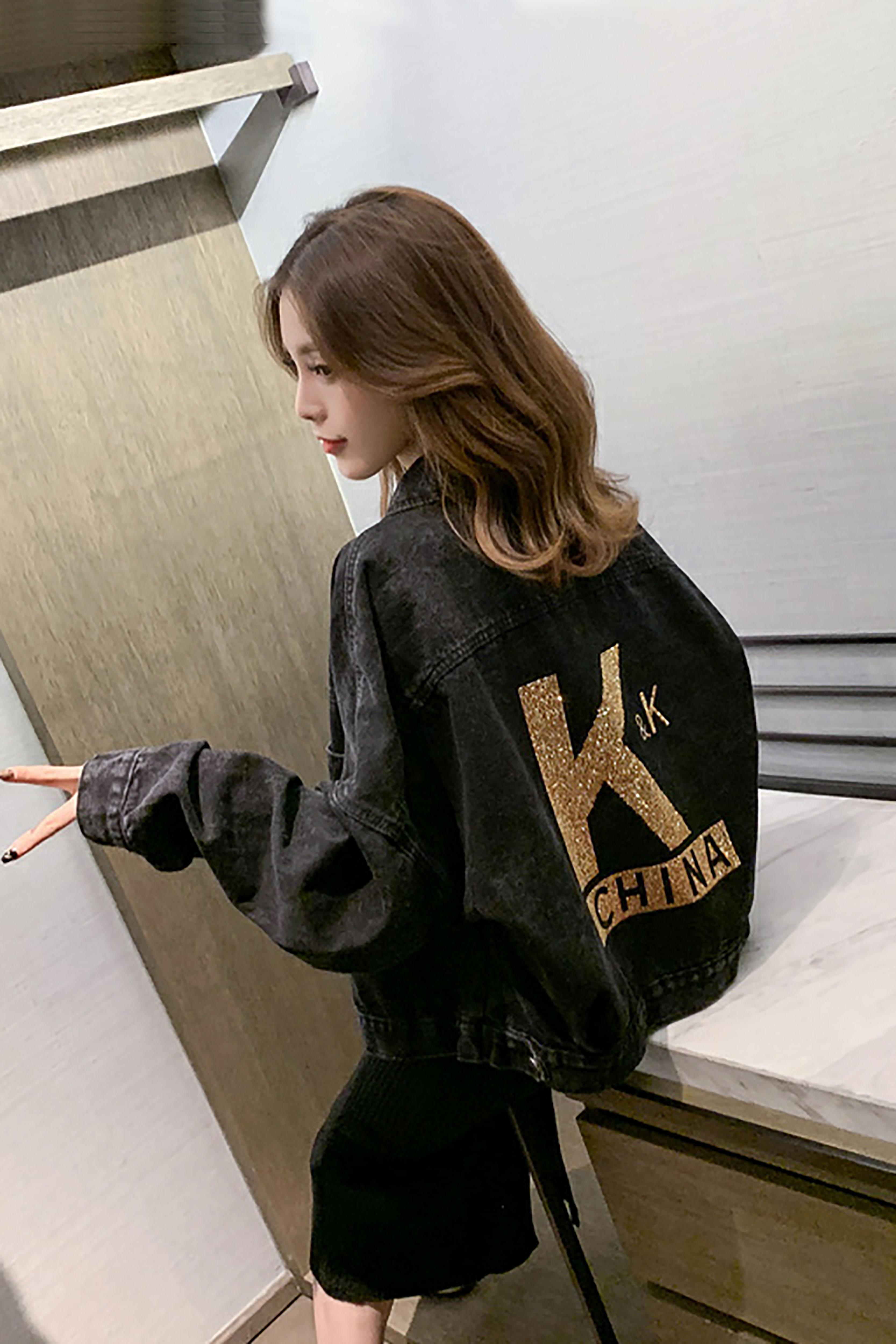 韩版秋季新款宽松显瘦后背重工个性字母短夹克衫牛仔外套百搭上衣