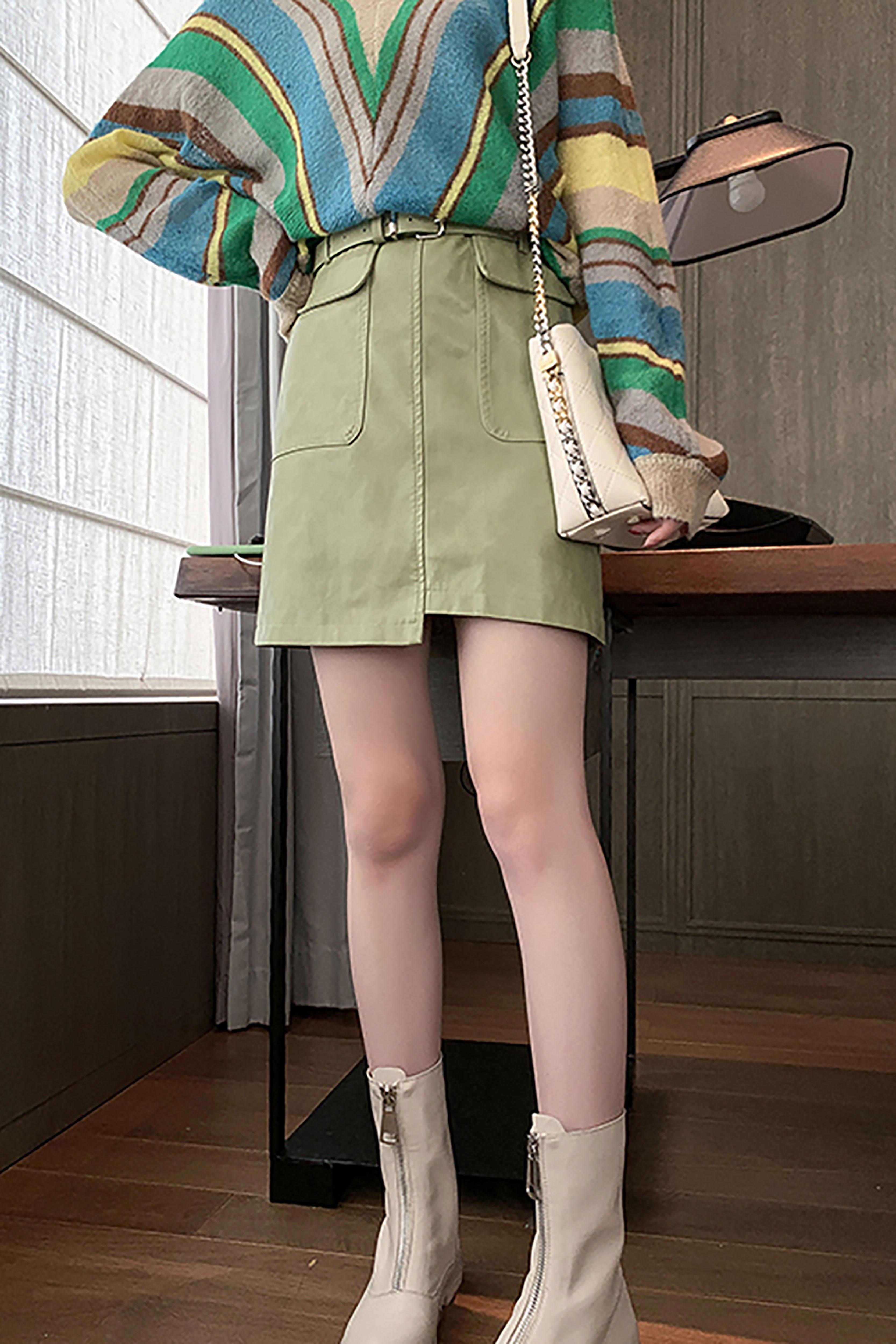 新款秋装韩版高腰显瘦PU皮裙纯色百搭半身裙短裙不规则包臀裙子