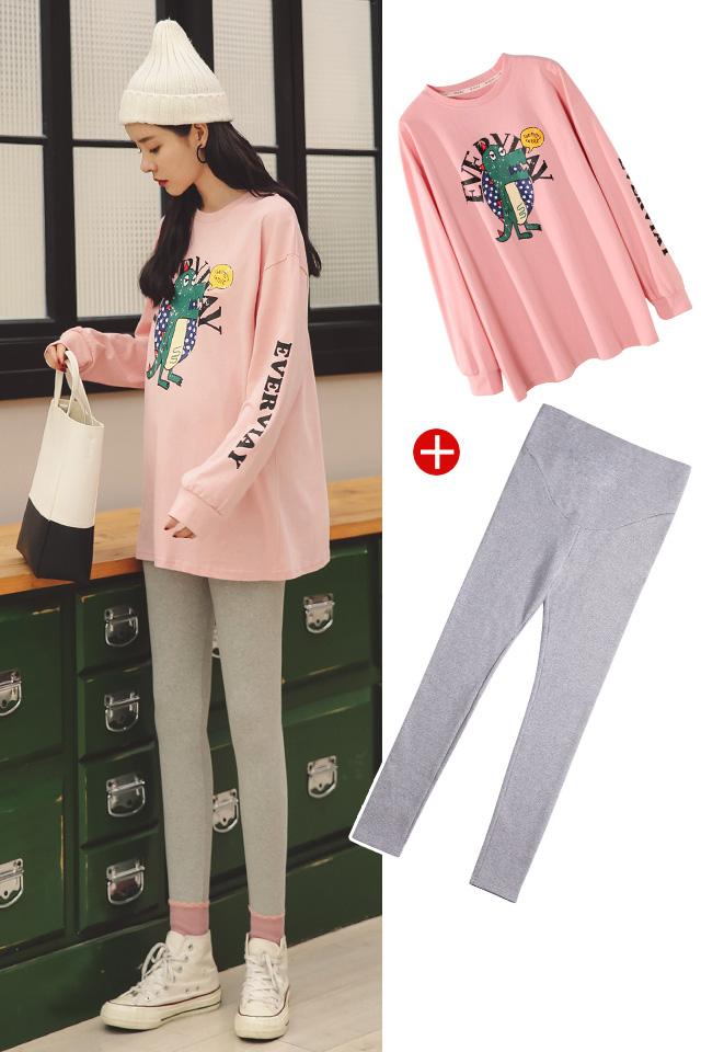 无绒【粉色卫衣+浅灰裤子】
