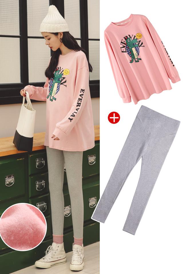 加绒【粉色卫衣+浅灰裤子】