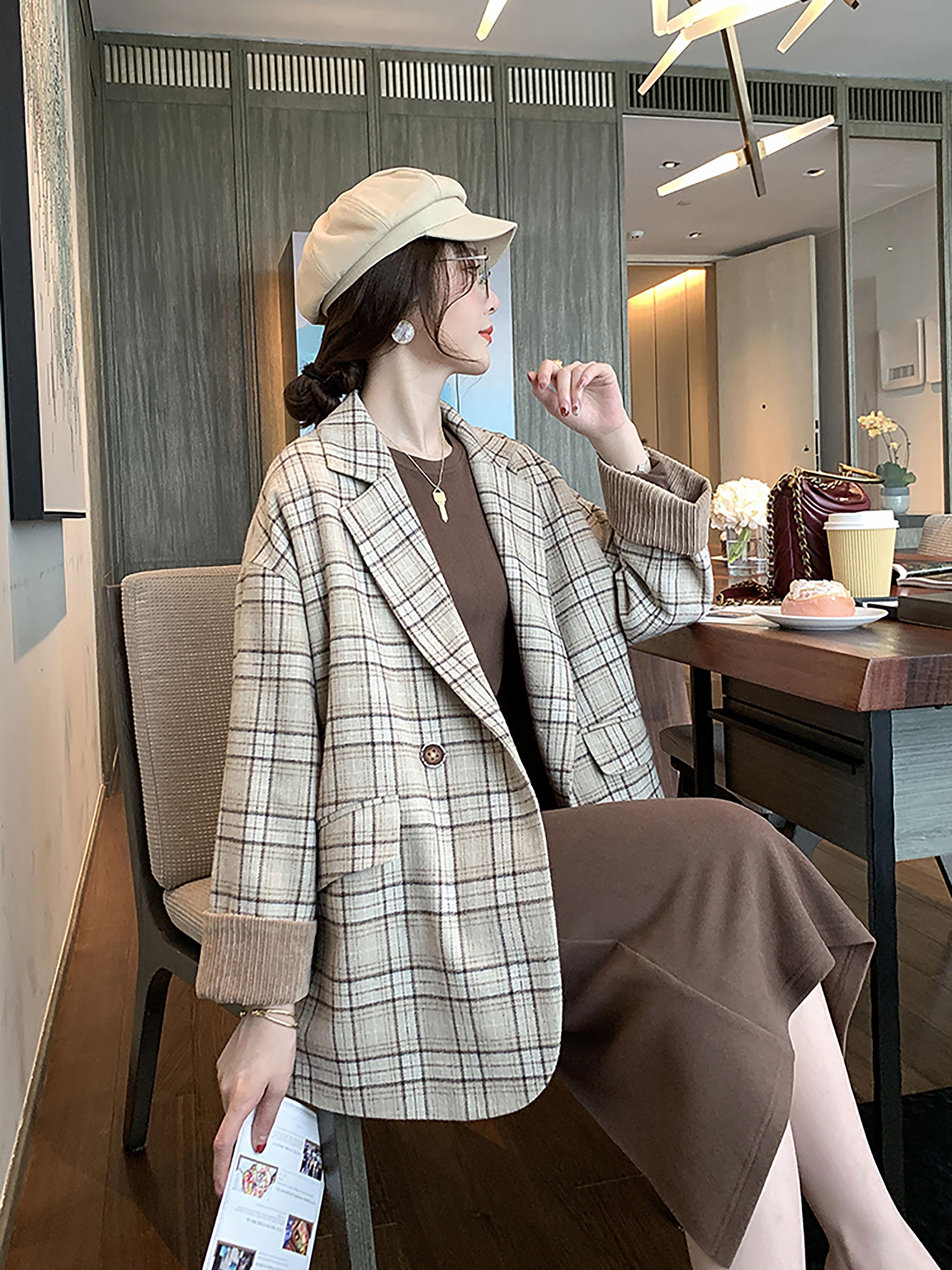 秋季新款英伦风格子西装外套女韩版宽松显瘦洋气时尚百搭长袖上衣