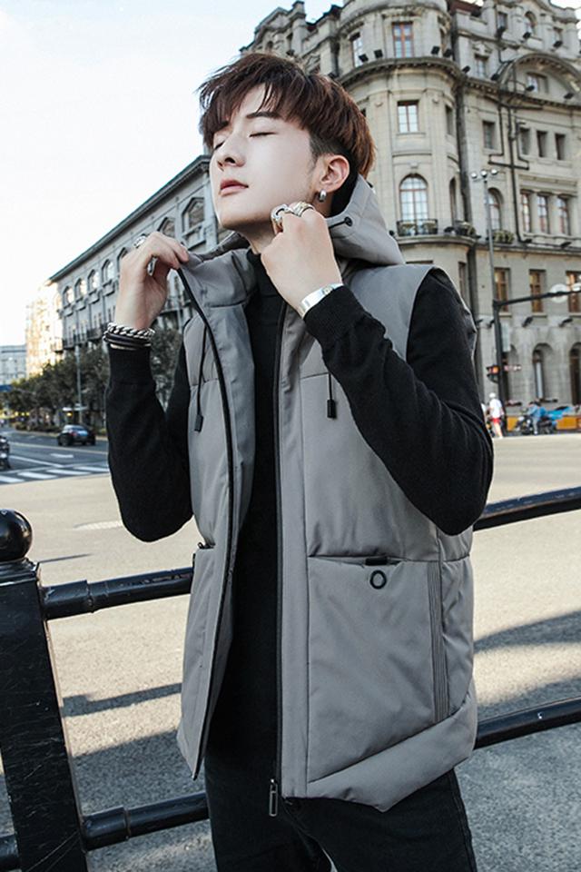 秋冬季男士连帽棉衣马甲韩版修身休闲青少年百搭外套保暖背心坎肩