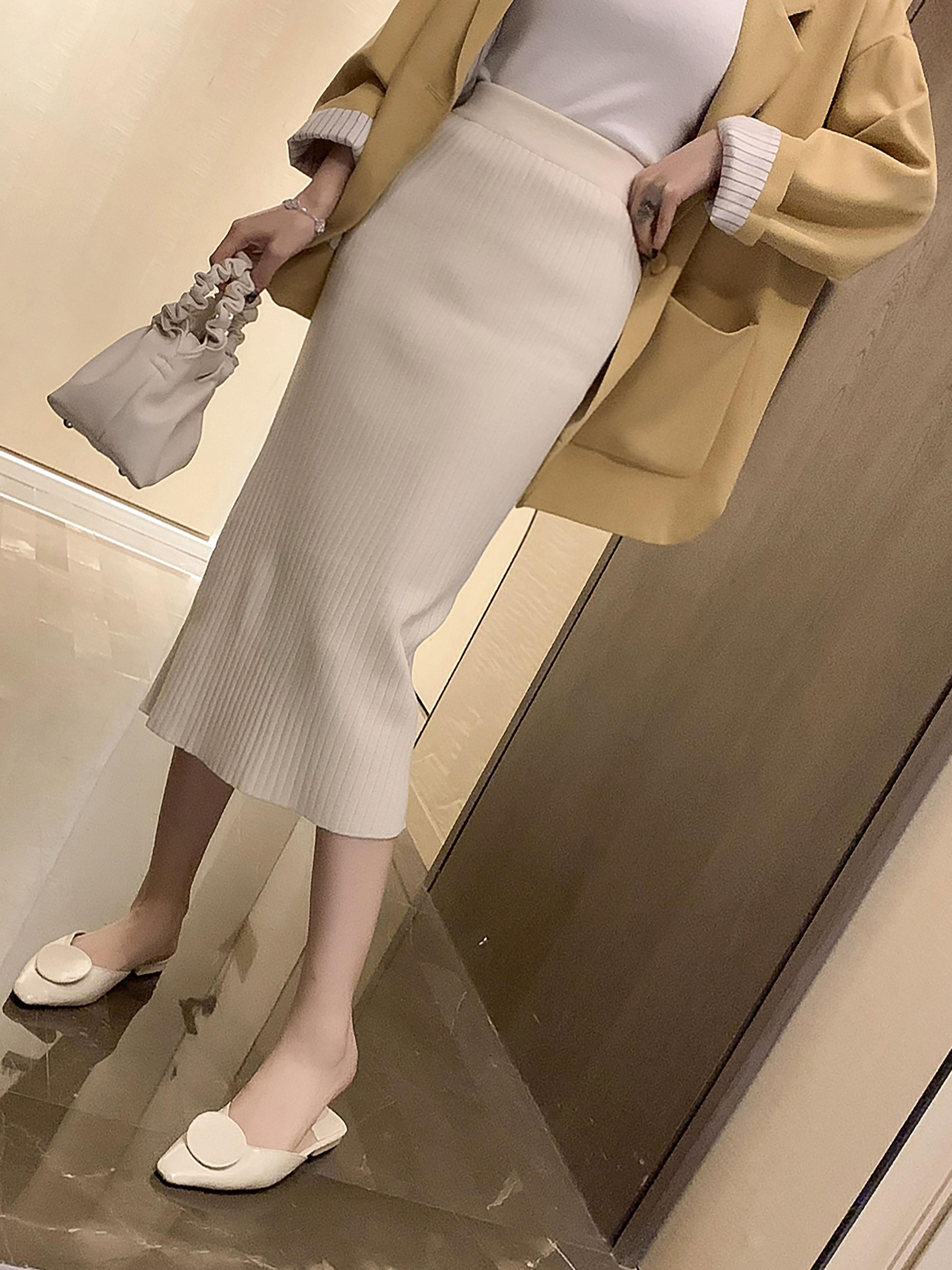 秋季新款韩版高腰竖条纹针织半身长裙女宽松中长款百搭纯色A字裙
