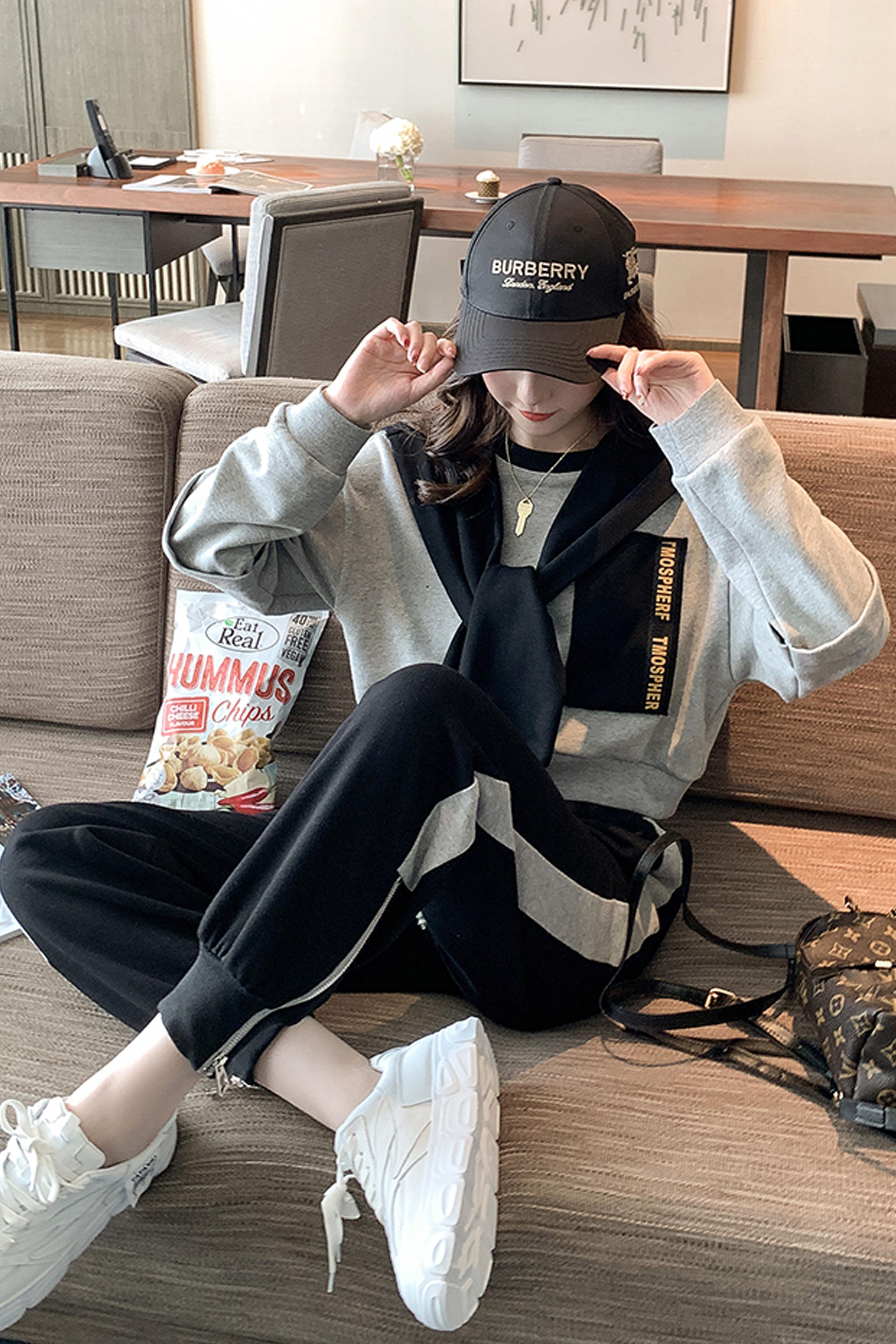 运动少女披肩卫衣套装2019秋季新款女装休闲运动裤洋气三件套