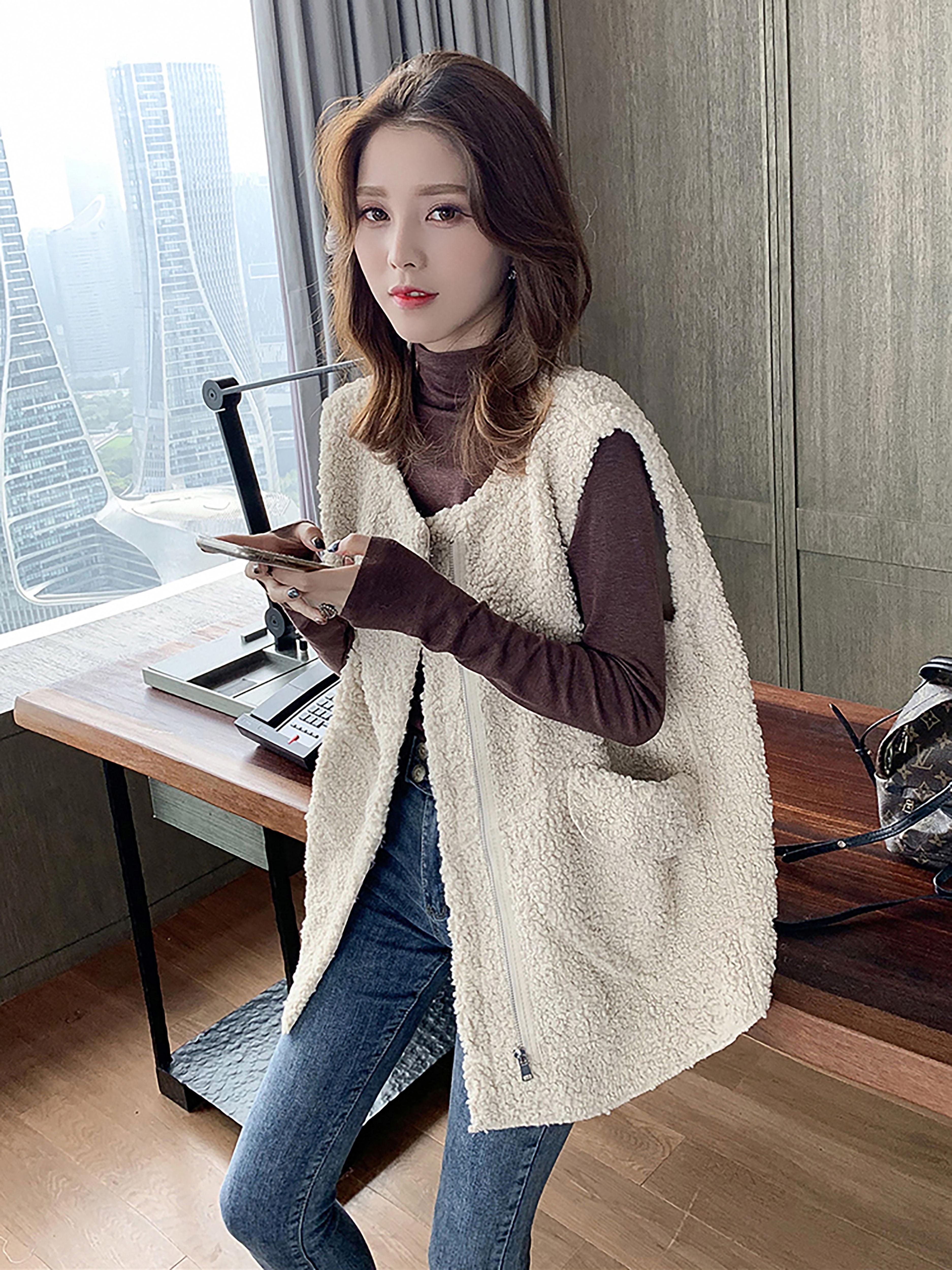 秋装新款韩版圆领羊羔毛拉链马甲时尚百搭外套潮chic名媛上衣