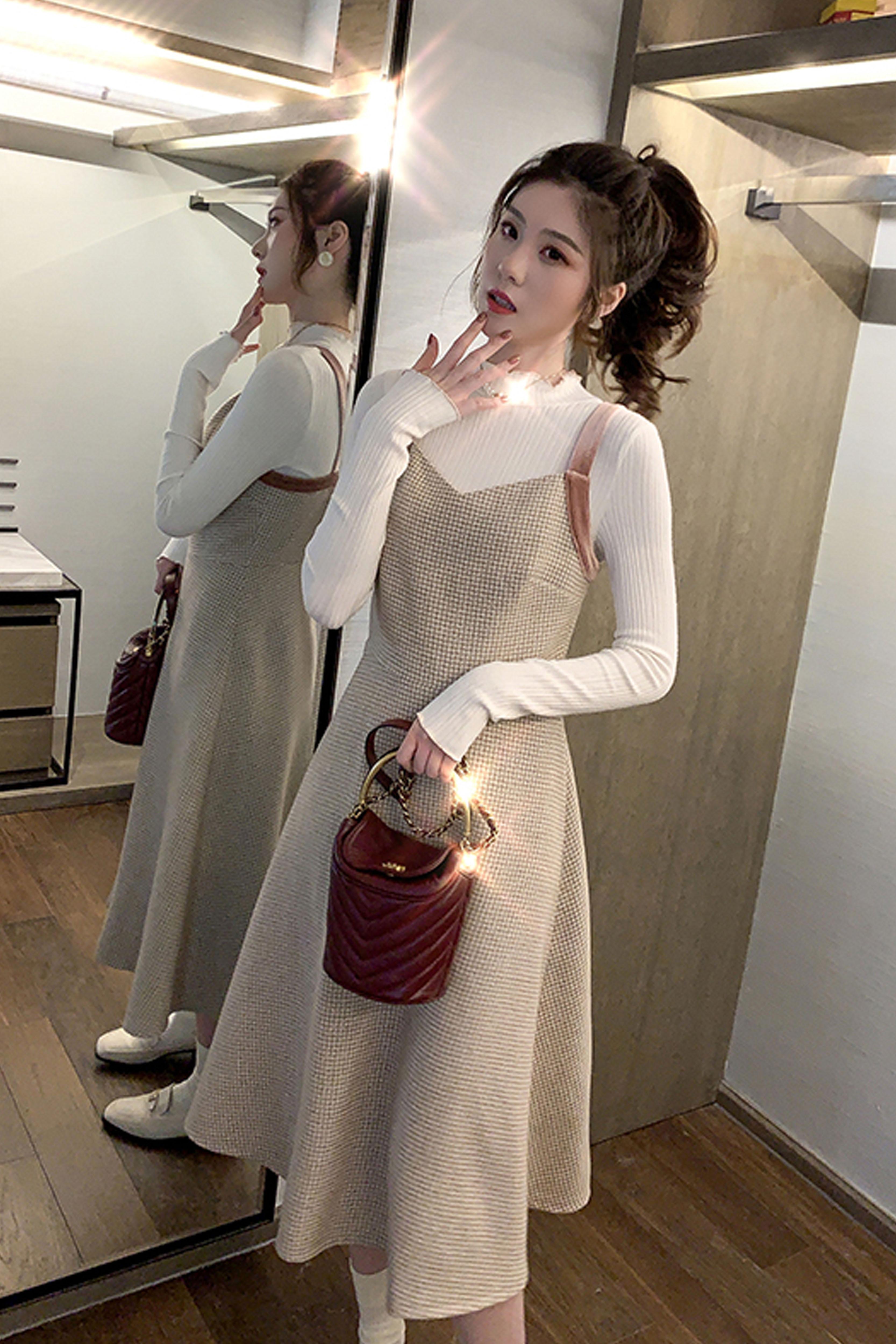 中长款打底针织衫2019秋季新款女装韩版修身显瘦纯色内搭上衣