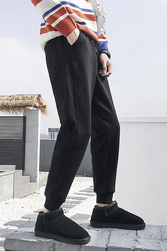 冬季男士加绒加厚保暖休闲裤青年百搭纯色束脚裤学生潮流运动长裤