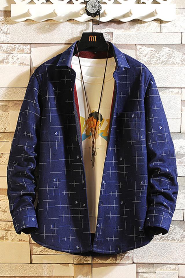 冬季新款长袖男士加绒加厚帅气潮衬衫韩版青年时尚休闲翻领修身