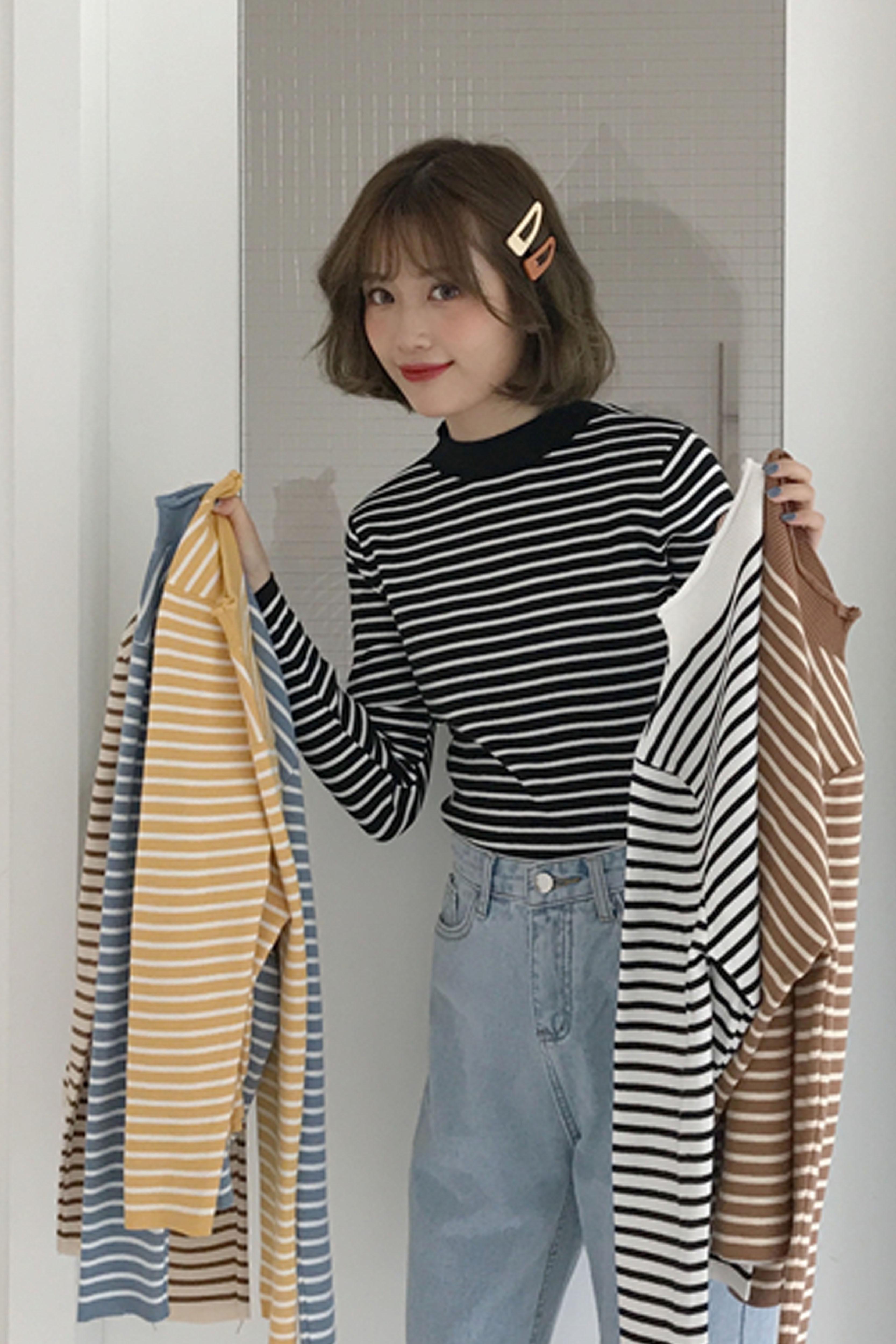 套头长袖毛衣女2019秋季新款女装修身显瘦内搭学生条纹针织衫