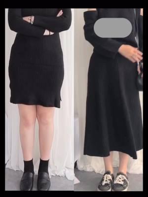 梨C日常穿搭 今日份半身裙来了! 针织半裙 这件就是直播的时候给大家试穿的针织A字裙 相信直播的时候大家都看到对比了 这件A字裙的遮肉效果真的肉眼可见 把下半身的缺点全都遮住了 不仅遮肉显瘦还修饰身形 而且版型是非常简约的基础款 随便搭配上衣都很好看 梨型女生的显瘦利器! #双11,遮腿粗我们是专业的!#