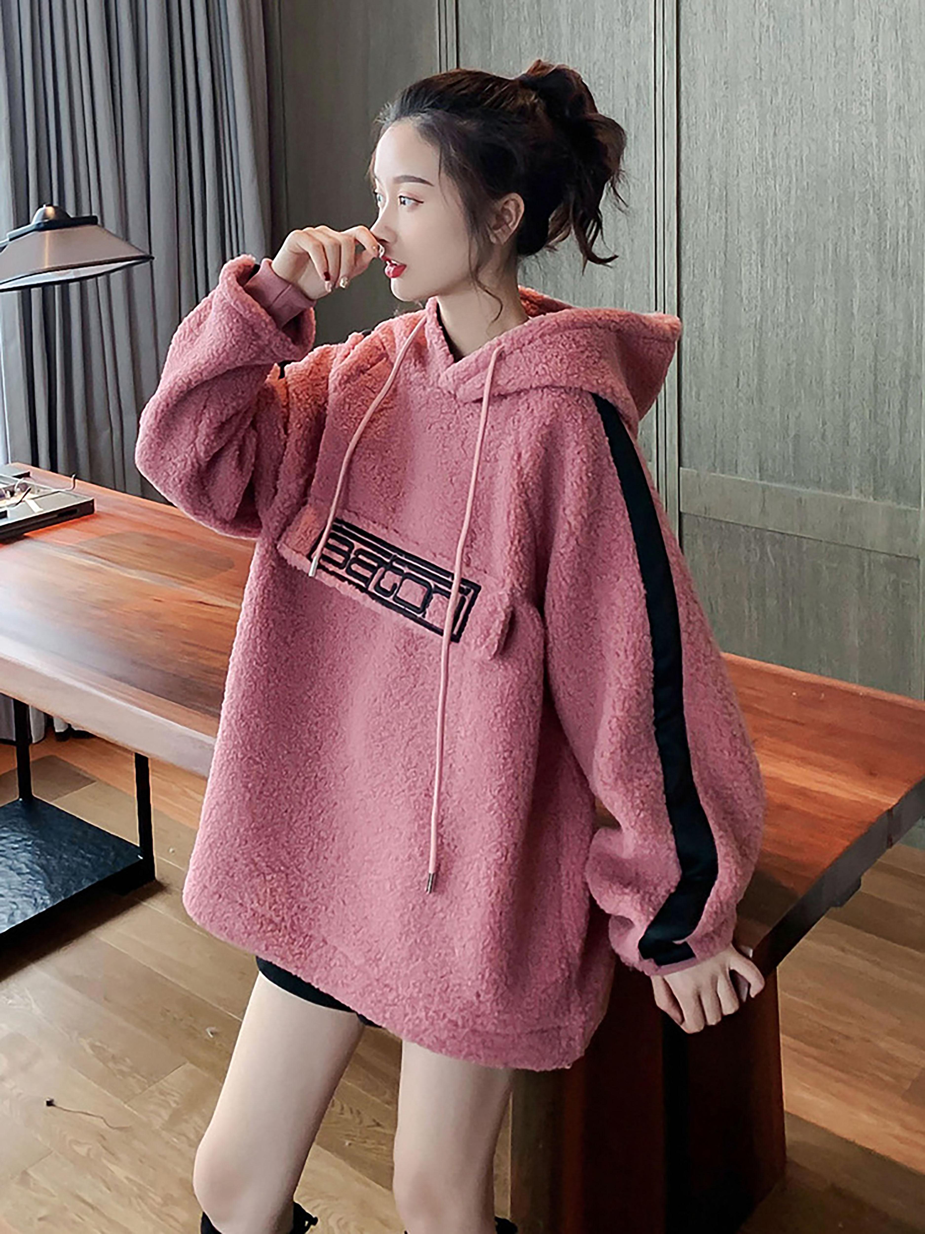 羊羔毛卫衣女新款韩版加绒加厚慵懒风连帽套头字母宽松秋冬外套潮