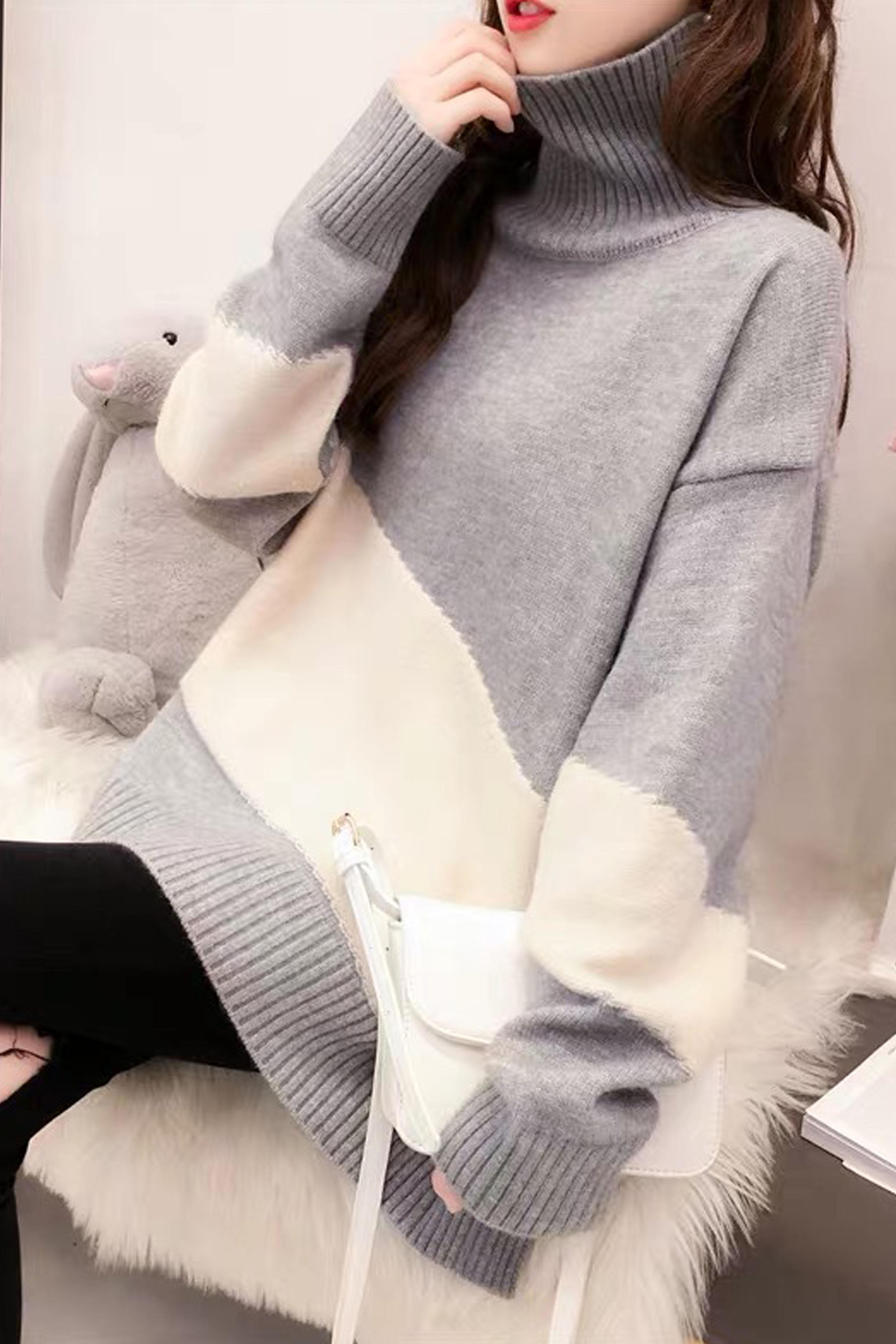 高领加厚毛衣女2019秋冬季慵懒风很仙的网红针织衫上衣外套潮