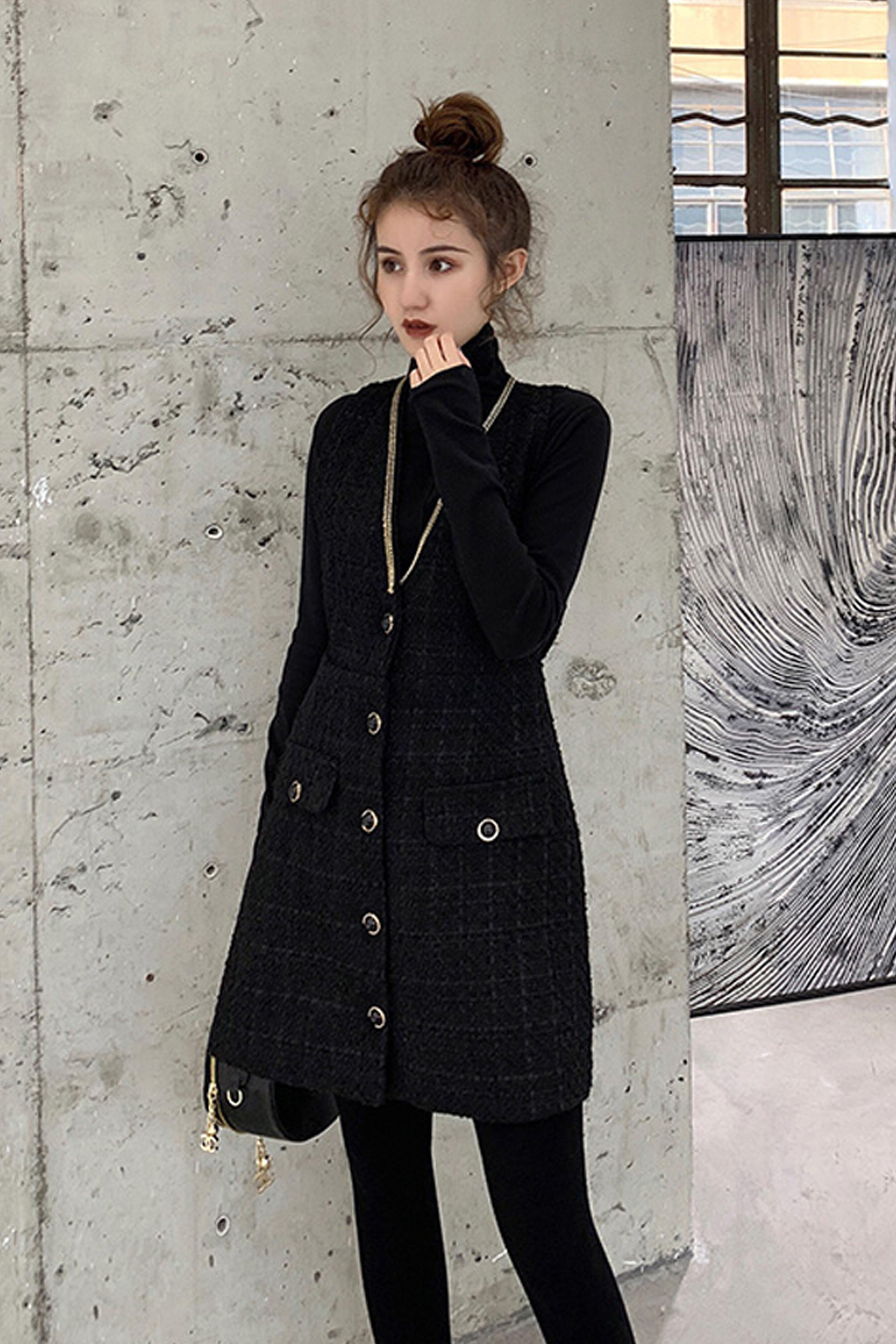 时尚套装女2019秋冬新款高领打底衫+毛呢无袖连衣裙两件套装