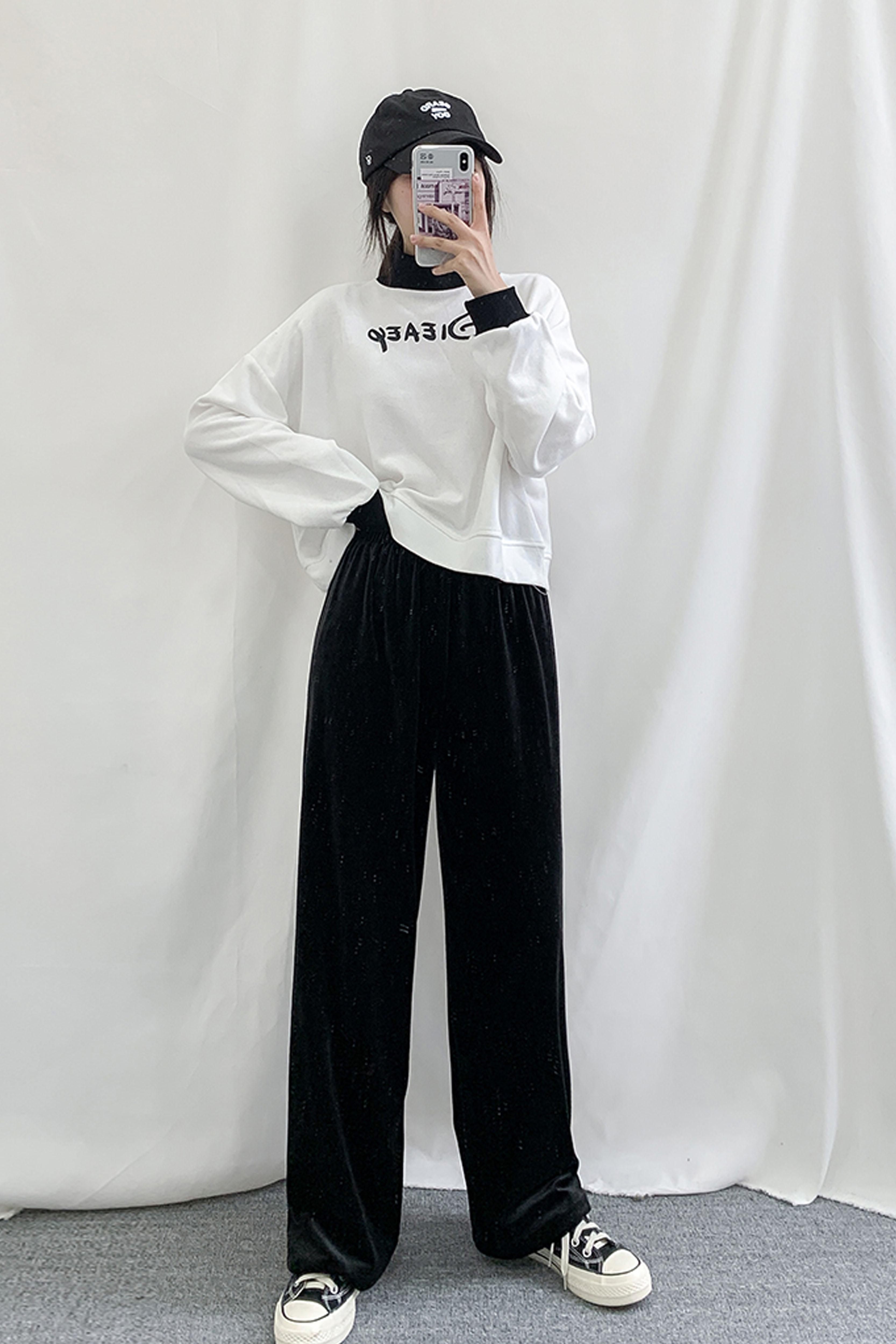 金丝绒阔腿裤女2019秋冬新款女装宽松直筒高腰休闲裤黑色裤子