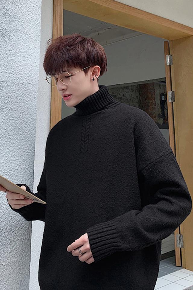 秋冬新款男士高领毛衣时尚百搭毛线衣青年纯色套头打底衫学生上衣