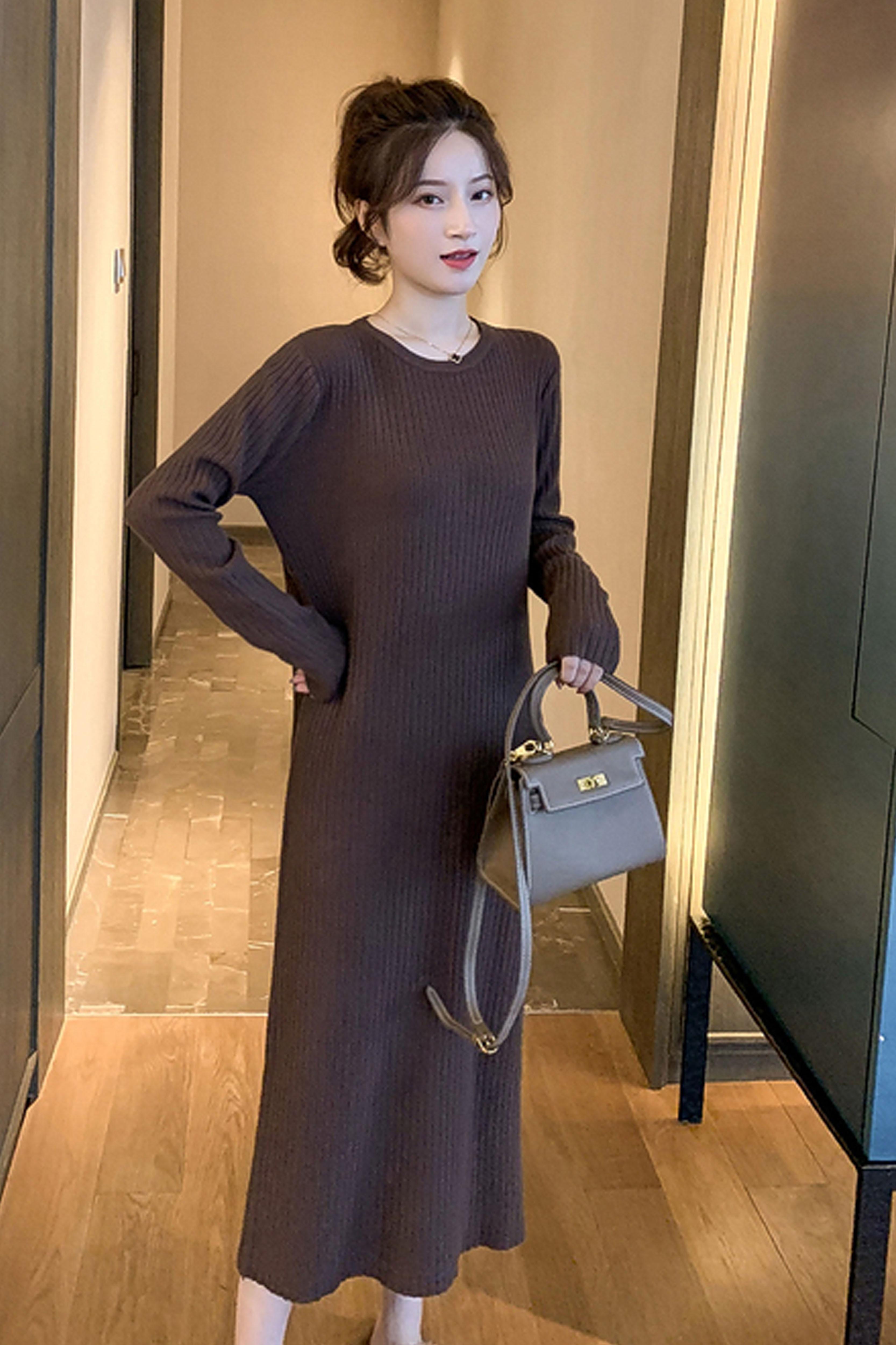 中长款针织连衣裙2019秋冬新款女装圆领长袖打底裙轻熟风长裙