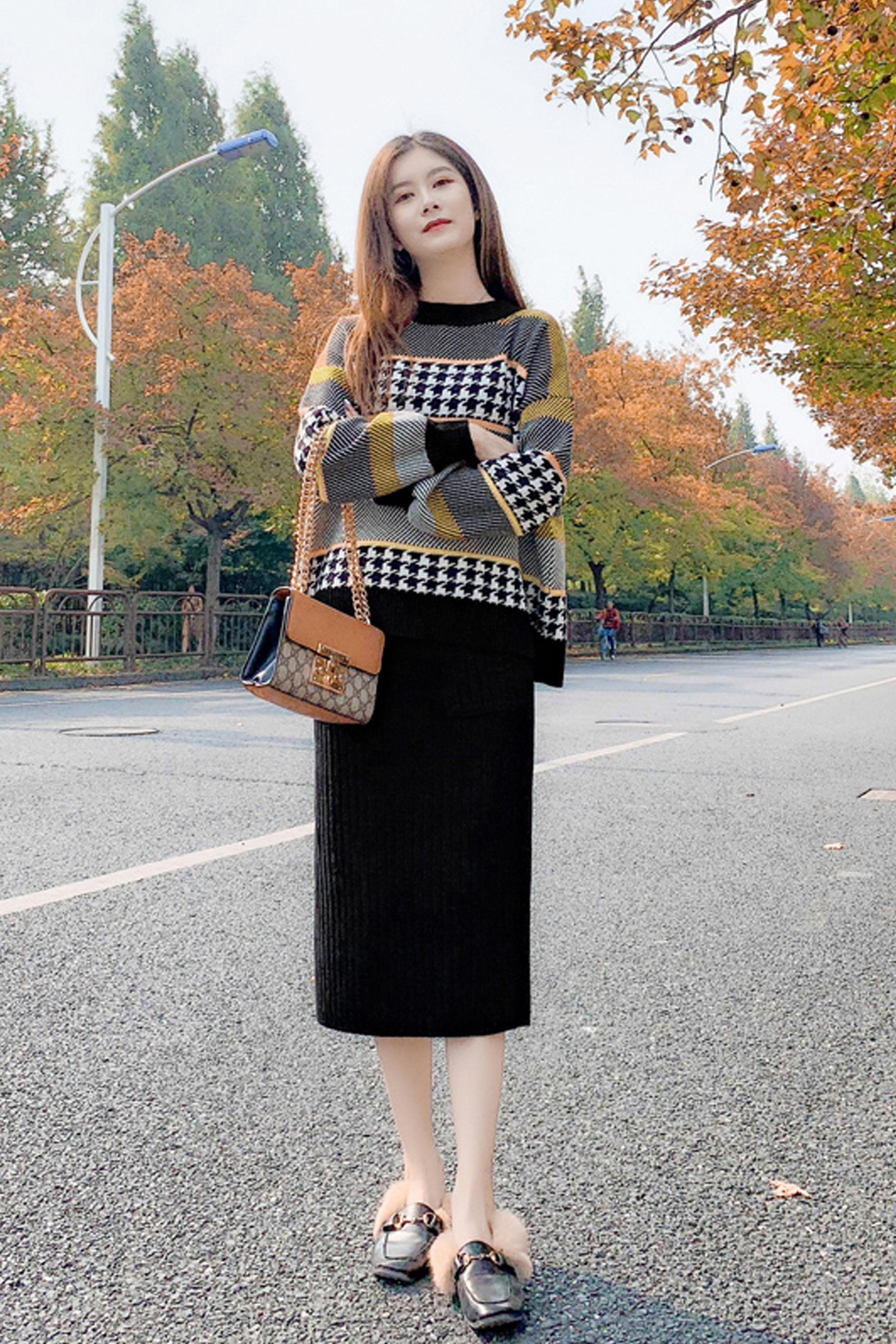 时尚套装女2019秋冬新款女装针织毛衣+高腰半身裙两件套装潮