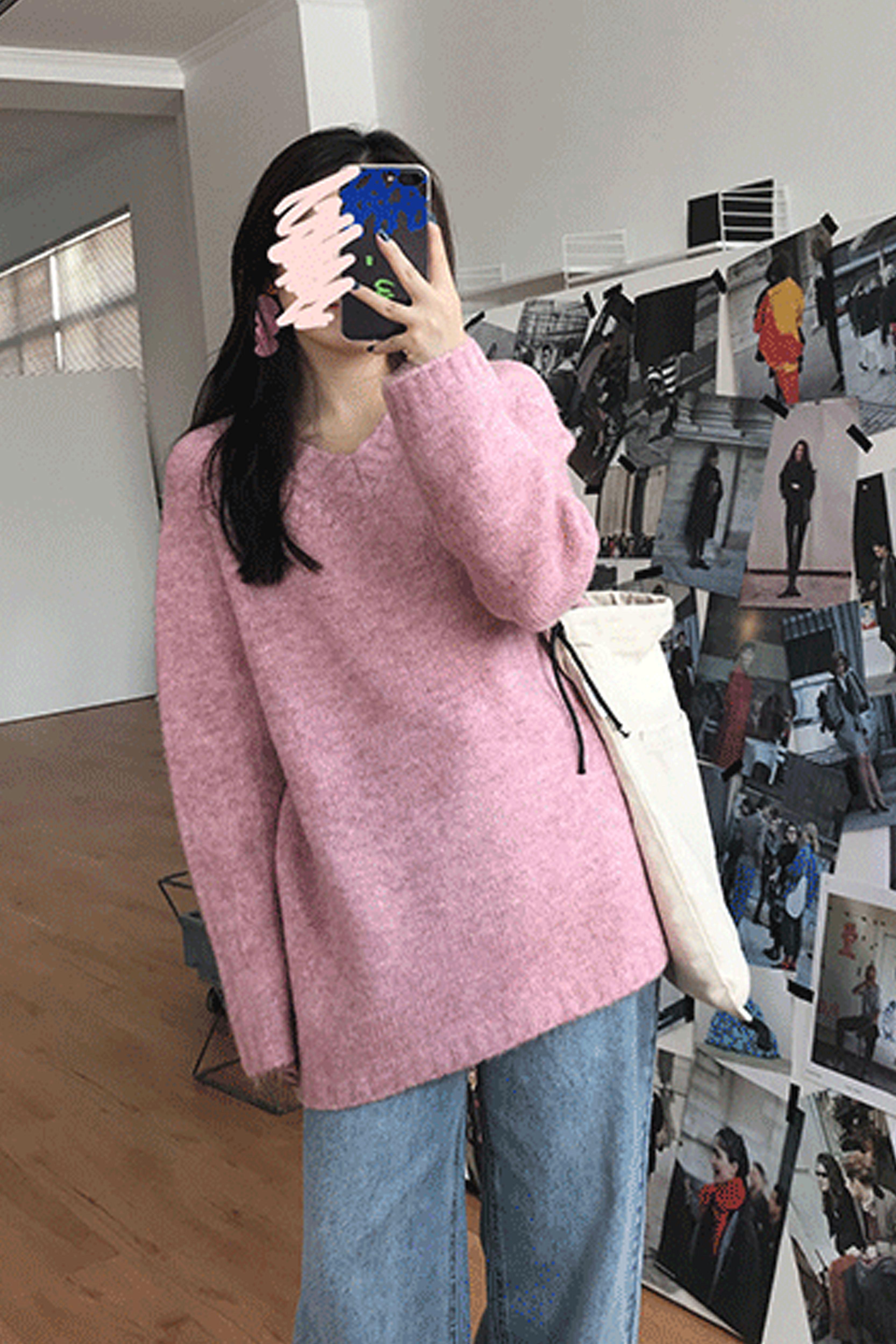 柔软V领套头毛衣女2019秋冬新款女装韩版宽松百搭长袖针织衫