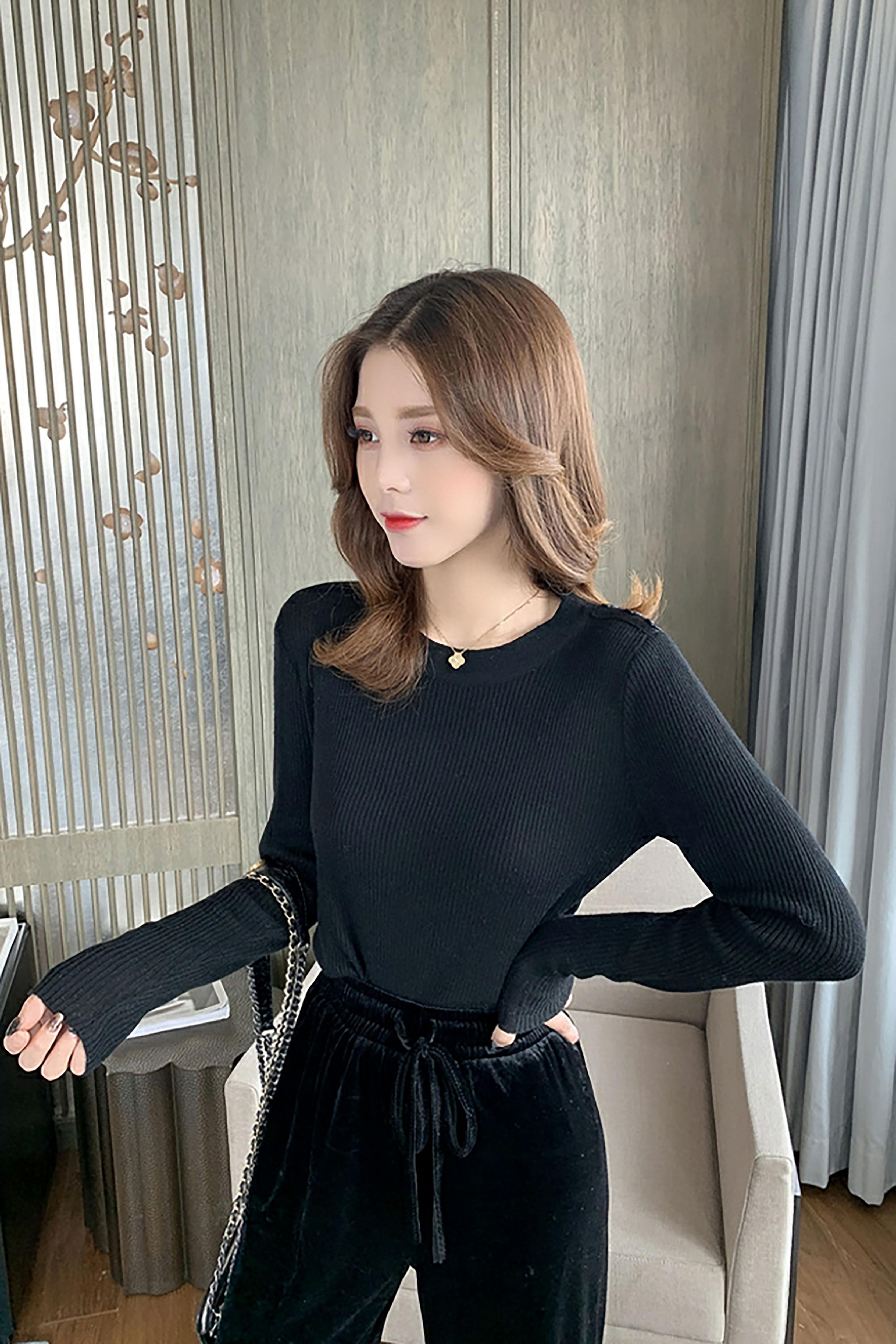 秋季新款韩版纯色修身针织衫女神设计感洋气上衣简约百搭长袖毛衣