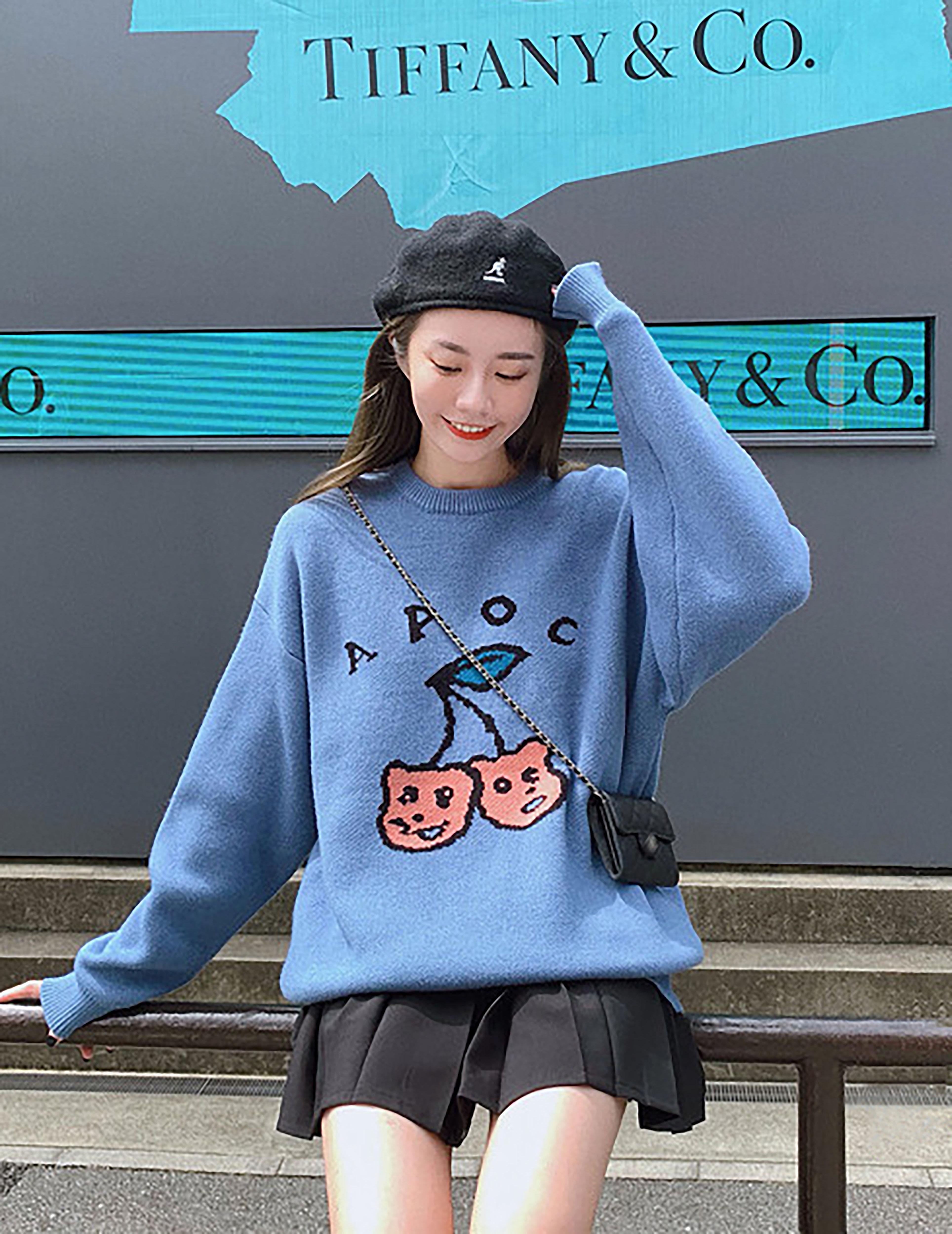 宽松套头毛衣女秋冬新款韩版慵懒风软奶蓝长袖可爱学生针织衫上衣