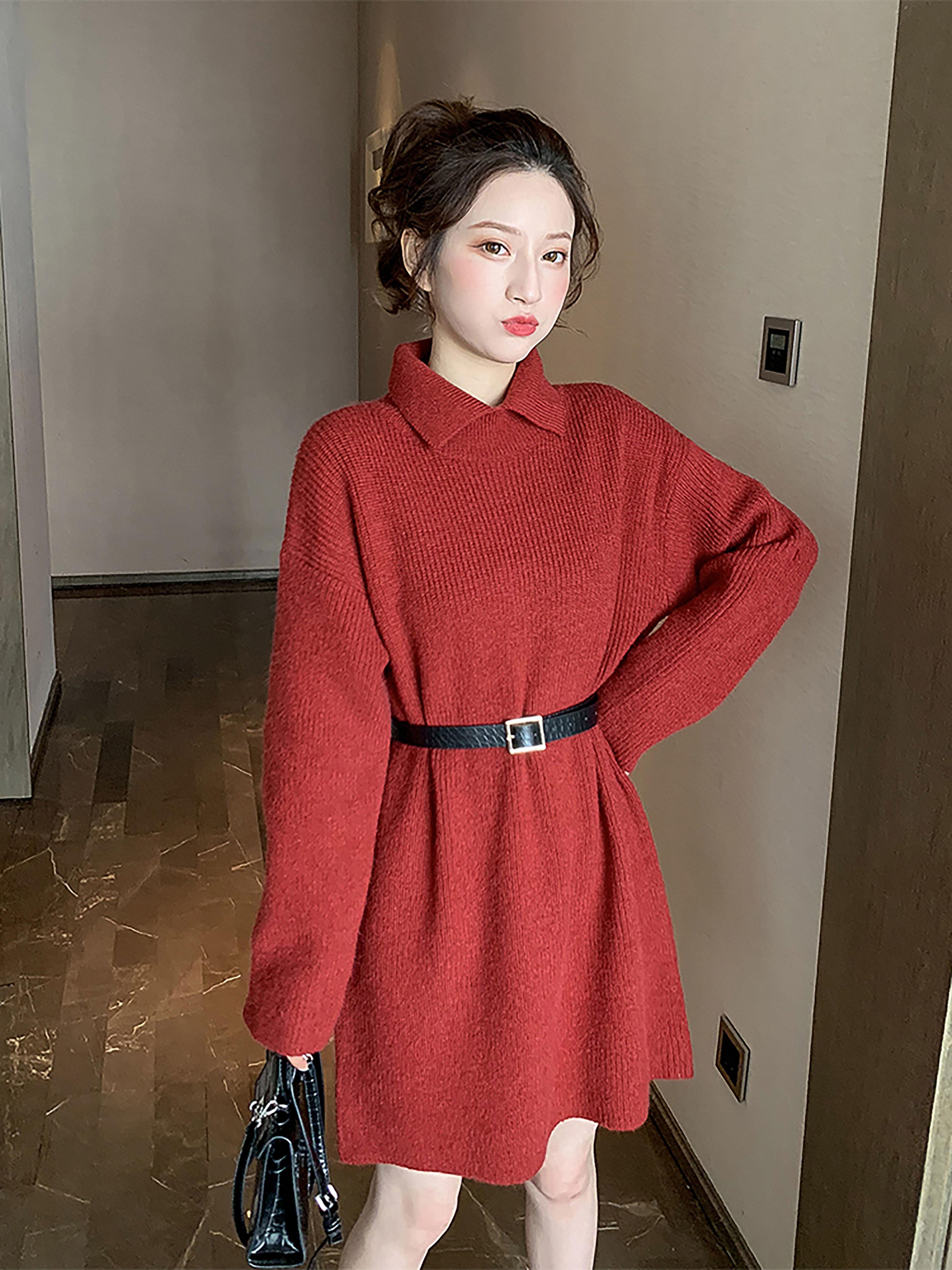 秋冬新款韩版收腰娃娃领红色连衣裙女复古显瘦针织裙洋气港味中裙
