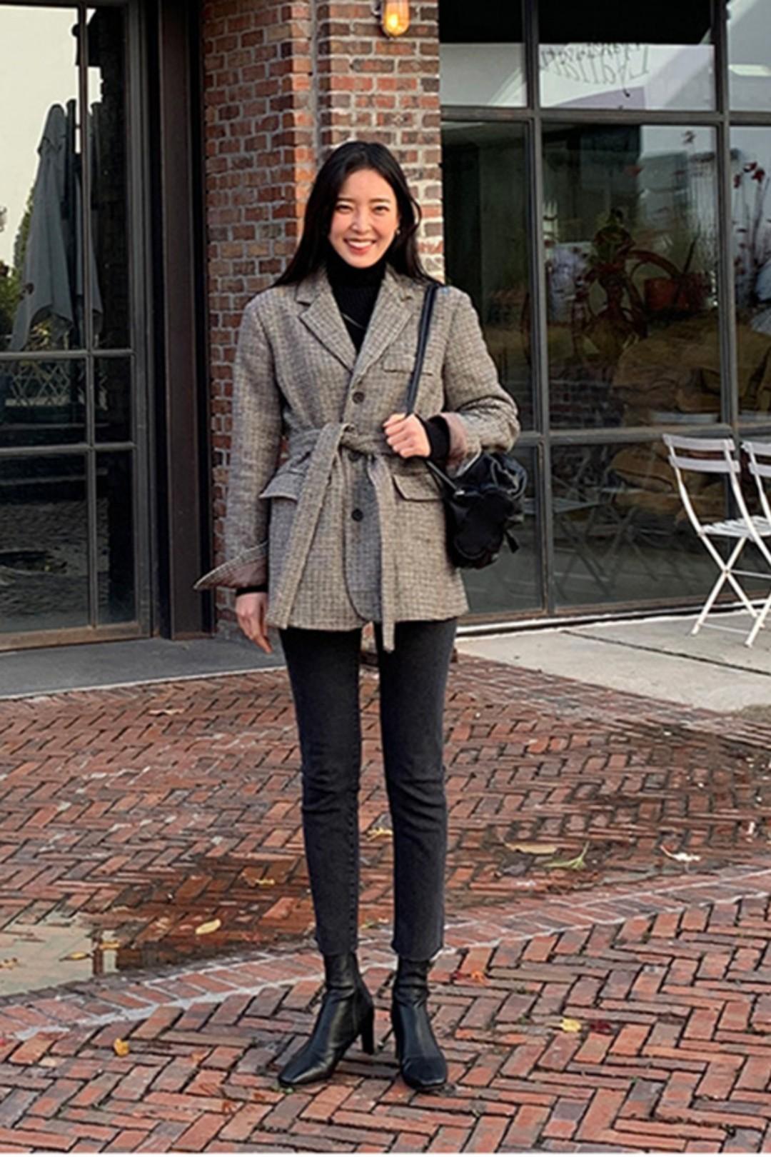 #备战双十二!这些外套必囤!#가을 겨울, 빈티지한 핏 슬림한 패턴 코트