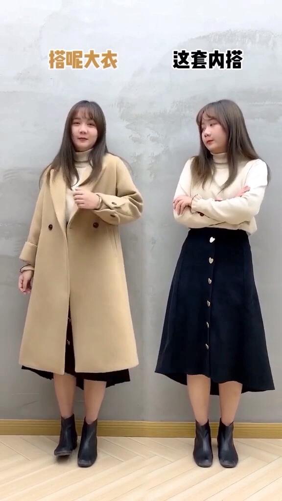 #微胖女孩冬日如何显瘦?#  我就这么说吧!这条半身裙,就没有搭不了的外套!单穿好看,搭配大衣外套也是超百搭呢……