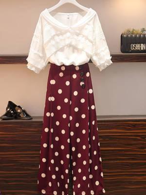 【山山33】装显瘦遮肉减龄洋气休闲短袖T恤阔腿裤小个子时尚潮