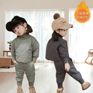 【A喆80-120 2色】儿童棉衣套装韩版夹棉衣外套裤子棉服 #全场秒杀价✅可以看宝贝讲解直接拍#