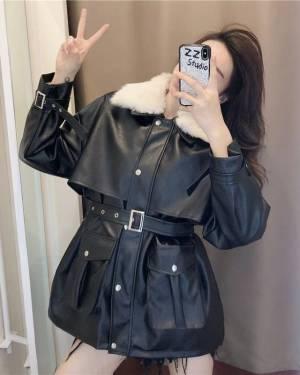 港风炸街皮衣外套2020年新款女中长款百搭韩版宽松潮流时尚
