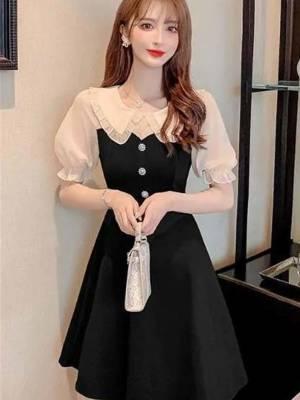 【小小美妞儿呀】娃领小黑裙子赫本风气质修身显瘦小个子连衣裙女