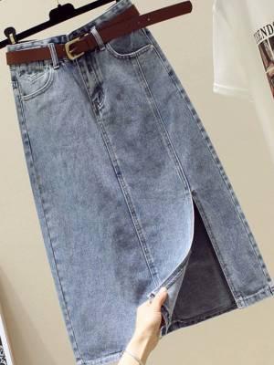 【小个子乐乐LL】2021新款牛仔半身裙子女春夏开叉中长款高腰a字显瘦包臀长裙
