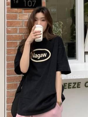 【小戚米_吖】直播夏季新款宽松中长款短袖t恤女装设计感小众韩风chic上衣T桖 #短袖T恤#