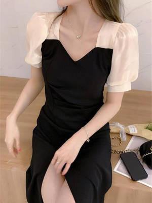 【小小美妞儿呀】夏季新款法式复古设计感小众温柔风可盐可甜短袖轻熟风连衣裙女裙