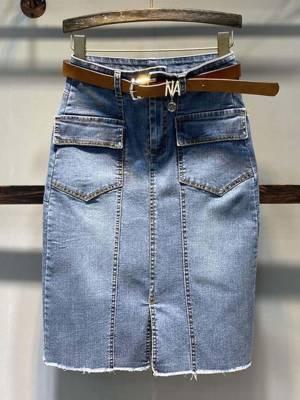 【小小美妞儿呀】2021夏季新款高腰中长包臀裙女时尚显瘦开叉百搭牛仔半身裙子