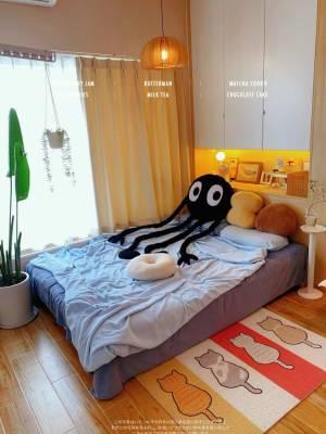 换了个颜色 收到打开就平铺了一下看下感觉,和我房间很搭,Nice!绒绒的,软fufu的,绒感炒鸡舒服~